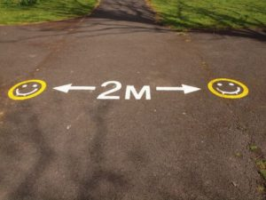 social distance markings in park
